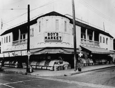 Exterior corner view of Boy's Market, located on Monte Vista Street at North Ave. 55, Highland Park, in 1937. <p></p>Photo from Security Pacific National Bank Collection, Los Angeles Public Library Photo Collection.