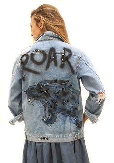 ROAR! Hand painted denim jacket by Ana Kuni, shop at www.anakuni.com
