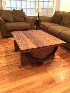 wine barrel table DIY with storage