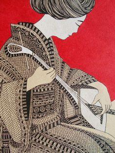 Cio Cio San (fragment) #nadikiza #modern #модерн #зенарт #zenart #зентангл #zentangle #графика #graphics #ink #liner #illustration #иллюстрация #geisha #тушь #линер #гейша #tragedy #япония #japan #театр #theater #мадамбаттерфляй  #madambutterfly #трагедия #опера #opera #кимоно #kimono #японка #japanese