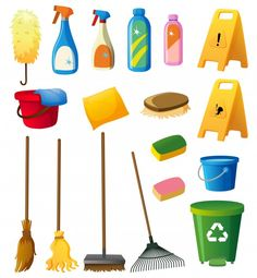 Cleaning equipments on white background Free Vector Cleaning Items, Cleaning Equipment, Cleaning Hacks, Cleaning Quotes, Cleaning Checklist, Cleaning Products, Deep Cleaning, Cleaning Service Logo, House Cleaning Services