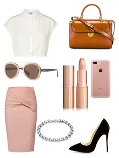 """nude pencil skirt"" by bethany-king on Polyvore featuring WtR, Vero Moda, Maison Margiela, Valentino and Belkin"