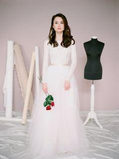 Long sleeve wedding dress Amy  Modest wedding by Milamirabridal