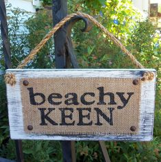 BEACHY KEEN Burlap Distressed Custom Cottage Sign
