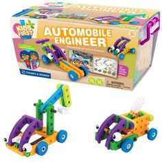 This 70 pc vehicle construction kit with the illustrated storybook provides an engaging toy to teach STEM related skills to the preschool kids.