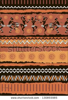 Illustration vector ethnic ornament set.The silhouette of the Africans. Dancing Africans and aborigines.Seamless vector tribal texture by IV...