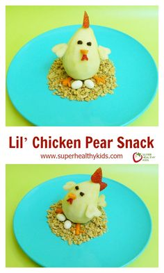 Lil' Chicken Pear Snack - Help your kids snack on fruits and veggies instead of junk! http://www.superhealthykids.com/lil-chicken-pear-snack/