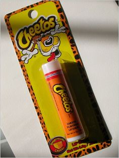 Cheetos-flavored lip balm. Ewwww. Well maybe it taste good. I don't know