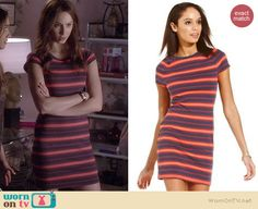 Spencer's striped mini dress on Pretty Little Liars.  Outfit Details: http://wornontv.net/36444/ #PLL
