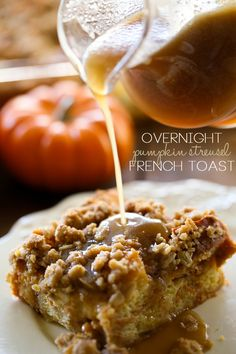 Overnight Pumpkin Streusel French Toast with Caramel Syrup. This recipe is my FAVORITE overnight french toast recipe to date! The streusel topping is amazing and the caramel syrup is the perfect compliment to the pumpkin flavor! What's For Breakfast, Breakfast Dishes, Breakfast Recipes, Dessert Recipes, Pumpkin Recipes, Fall Recipes, Holiday Recipes, Pumpkin Foods, Pumpkin Dishes