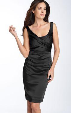 Allure Knee-length Straps Sleeveless Satin Column Party Dresses - Semi-Formal Dresses - Wedding Dresses