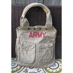 Khaki Military Satchel Canvas Handbag Red Army Stamp Purse Bag