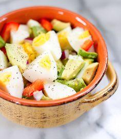 Hard boiled egg, avocado, red pepper breakfast bowl!