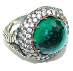 $52.85 Victorian Style! Green Emerald & Ruby & White Topaz Sterling Silver ring s. 8 3/4 at www.SilverRushStyle.com #ring #handmade #jewelry #silver #quartz