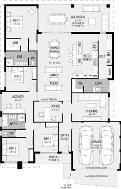 Change positioning of Windows in master bedroom and extend the living room over the full with of the house.Change positioning of Windows in master bedroom and extend the living room over .Change positioning of Windows in master bedroom and extend t Family House Plans, Bedroom House Plans, New House Plans, Dream House Plans, House Floor Plans, Building Plans, Building A House, Home Design Floor Plans, House Blueprints