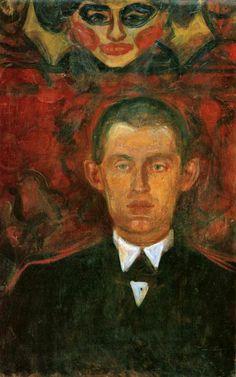 Edvard Munch, Self-Portrait Beneath Woman& Mask, Munch Museum, Oslo Edvard Munch, List Of Paintings, Dark Paintings, Wassily Kandinsky, Henri Matisse, Oslo, Franz Marc, Woman Mask, Henri De Toulouse-lautrec