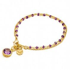 Bracelet double chaine Athena améthyste Azuni London
