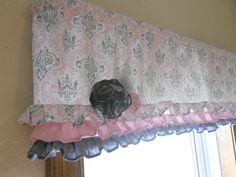 Ruffled valance, Pink and gray damask window treatment, Girl nursery valance