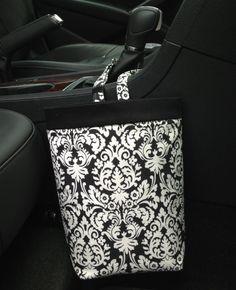 Car Trash Bag DAMASK Black & OffWhite Women Men Car by GreenGoose, $26.00