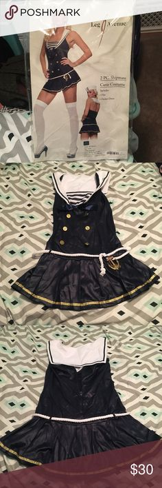 """Shipmate Halloween Costume Worn once. Size S/M. The sailor hat didn't stay on my head, so I took the anchor off and put it on a different hat. I was more of a """"captain"""" if you will. Dresses"""