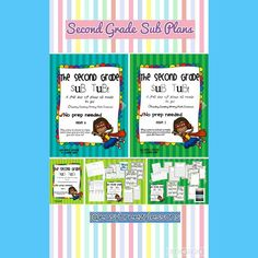Second grade sub plans! No prep needed! Perfect for when you need a day of but don't have time to plan! :)