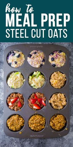 How to meal prep steel cut oats: how to cook steel cut oats in the instant pot or on the stove top, how to store steel cut oats, how to freeze steel cut oats. #sweetpeasandsaffron #vegan #mealprep #freezer #oatmeal #steelcutoats