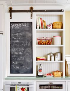Design Ideas For a Colorful Retro Kitchen Love this mini barn door to hide small appliances like microwave or coffee maker!Love this mini barn door to hide small appliances like microwave or coffee maker! Kitchen Cabinet Doors, Kitchen Redo, New Kitchen, Kitchen Storage, Kitchen Remodel, Country Kitchen, Kitchen Renovations, Kitchen Ideas, Kitchen Cabinets