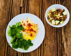 Eggs and spinach with diced apples  macadamia nuts and pecans