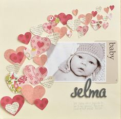 #Papercraft #scrapbook #layout. Selma...Baby Layout