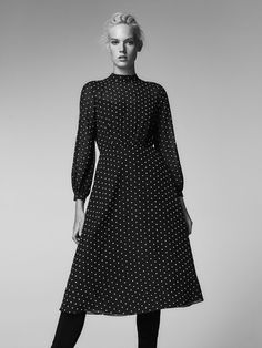 Fall Winter 2017 Women´s DRESS WITH FLOCKING DETAIL at Massimo Dutti for 140. Effortless elegance!