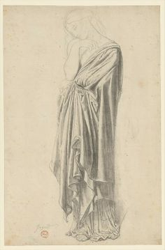 Jean Auguste Dominique Ingres (French, Montauban 1780–1867 Paris) Study for the Figure of Stratonice Graphite, black chalk and rubbed charcoal...