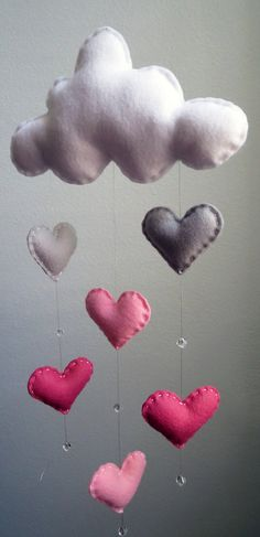 Shades of Pink Cloud Mobile with Heart by TheWhiteBirchTree