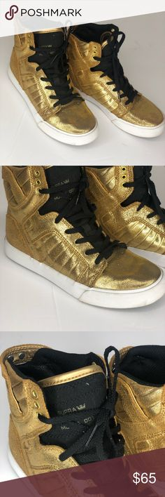 78ef5b6e14f ( Like new ) gold high tops Supra sneakers Like new From my personal closet  Worn