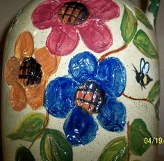 Etched handpainted bee's and flower's !!