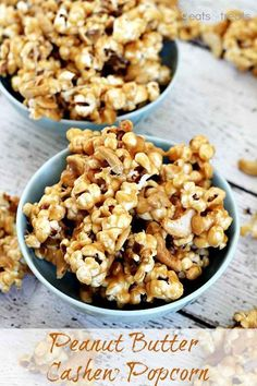 Peanut Butter Cashew Popcorn ~ Ooey, Gooey Peanut Butter Sauce smothering popcorn and cashews @ Julie's Eats and Treats Chex Mix, Popcorn Recipes, Snack Recipes, Dessert Recipes, Cooking Recipes, Cashew Recipes, Popcorn Snacks, Pop Popcorn, Gourmet Popcorn