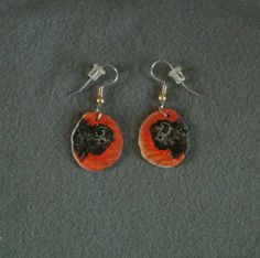 Antler Buffalo Head Earrings Sunset-Hand Painted by TandPCrafts on Etsy