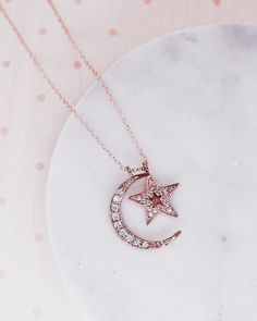 Moon & Star Necklace, I love you to the moon and back, rose gold necklace, rose gold jewelry, bestie Back Necklace, Star Necklace, Pendant Necklace, Pearl Pendant, Love Necklace, Rose Gold Pendant, Necklace Ideas, Pearl Studs, Flower Pendant
