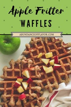Apple Fritter Waffles bring the taste of fall to your table with fresh apple bits in every bite and topped with a dreamy glaze. Apple Fritters, Fresh Apples, Healthy Options, Waffles, Breakfast, Food, Morning Coffee, Essen, Waffle