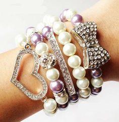 Arm Candy: 5 Piece Crystal Heart & Bow Sideways Fashion Stacked Bracelet Set