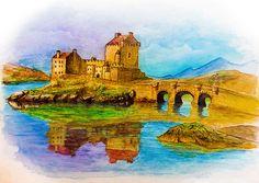 SCOTLAND CASTLE painting printable wall art...