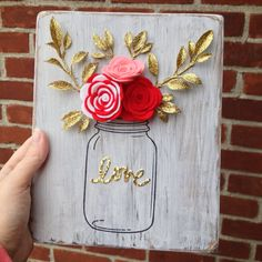 Felt Floral Mason Jar Sign by BlueHouseDesignz on Etsy