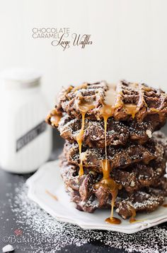 Chocolate Caramel Liege Waffles, wow these would be a treat! Breakfast dessert