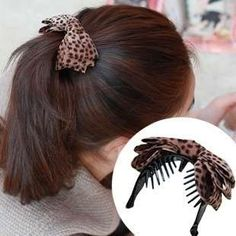 Leopard fabric bow Hair Clips Barrette Ribbons Ponytail Headband : Material: Leopard Fabric  Item Type: Hairwear Fine or Fashion: Fashion Shape\pa.