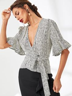 Flounce Sleeve Pinstripe Wrap Blouse -SheIn(Sheinside) for woman for woman sare blouse outfit Blouse Wrap, Blouse Dress, Peasant Blouse, Stylish Tops, Trendy Tops, Blouse Styles, Blouse Designs, Corporate Attire, Tank Top Outfits