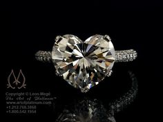 6.30 carat heart shape diamond ring done by Leon Mege. Love this one