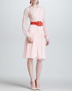 OSCAR DE LA RENTA Silk Chiffon Tuxedo Shirtdress, Petal Pink-soft sophistication