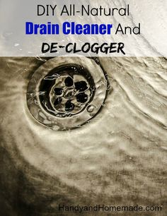 Unclog a drain using - c. baking soda (put down drain with fingers, then pour c. vinegar down the drain and close up the stopper in the sink. Let mixture sit in drain for 30 minutes. Then, open the stopper and pour boiling water down the drain. Homemade Cleaning Products, Cleaning Recipes, House Cleaning Tips, Green Cleaning, Natural Cleaning Products, Cleaning Hacks, Cleaning Supplies, Tub Cleaning, Daily Cleaning