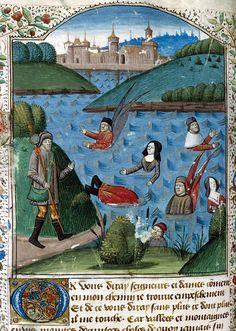 """Fine di settimana al lago. """"Il mare della Tentazione"""", miniatura tratta da 'Le pèlerinage de la vie humaine' (fine XV secolo), Bibliothèque municipale, Soissons."""