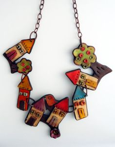 "Polymer clay necklace :""Fairy village"""
