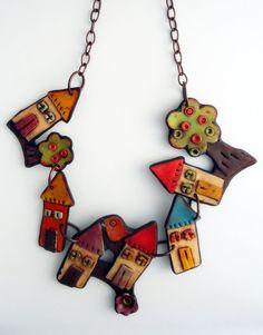Collier en argile polymère: « Village de fée »
